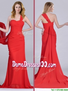 Column One Shoulder Watteau Train Coral Red Dama Dress with Side Zipper