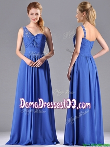Column Chiffon Beading and Ruching Blue Dama Dress with One Shoulder