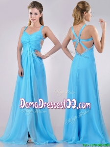 Luxurious Straps Criss Cross Beaded Long DamaDress in Baby Blue