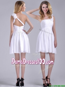 Classical Criss Cross White Dama Dress with Hand Crafted Flowers