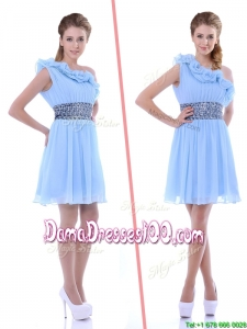 One Shoulder Light Blue Dama Dress with Beaded Decorated Waist and Ruffle