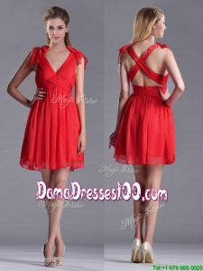 Exclusive V Neck Criss Cross Dama Dress with Ruching and Bowknot