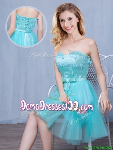 Discount Sweetheart Bowknot and Laced Tulle Dama Dress in Knee Length