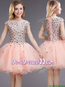 Gorgeous Ball Gown Bateau Cap Sleeves Dama Dress with Beading and Sequins