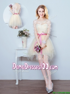 Luxurious See Through Laced Bowknot Ruffled Dama Dress with Half Sleeves