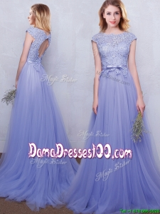 Popular Open Back Laced Bodice Cap Sleeves Lavender Dama Dress with Brush Train