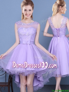 2017 Lovely See Through Scoop High Low Laced and Bowknot Dama Dress in Lavender