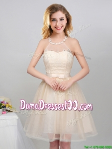 2017 Wonderful Princess Halter Top Applique and Laced Dama Dress with Belt