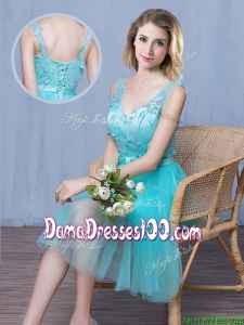 Beautiful Deep V Neckline Applique and Laced Aqua Blue Dama Dress in Tulle
