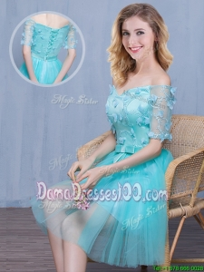 Cheap Tulle Aqua Blue Off the Shoulder Short Dama Dress with Short Sleeves