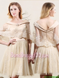 Discount Tulle and Lace V Neck Zipper Up Champagne Dama Dress with Cloak