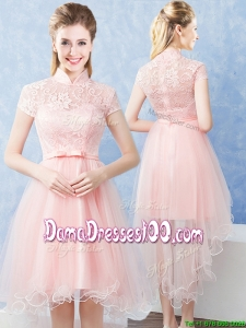 Lovely High Low Laced Bodice and Belted High Neck Short Sleeves Dama Dress in Baby Pink