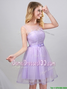 Lovely See Through Scoop Laced and Belted Tulle Dama Dress in Mini Length