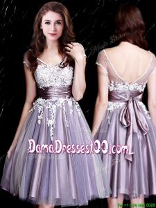 Luxurious Applique Bodice Short Sleeves Zipper Up Dama Dress in Lavender
