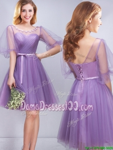 Modern Princess Belted and Applique Short Dama Dress with Half Sleeves
