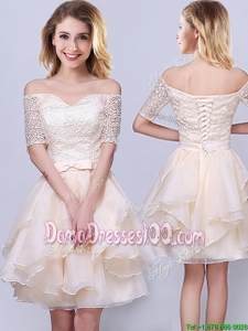 Popular Off the Shoulder Laced and Ruffled Organza Dama Dress in Champagne