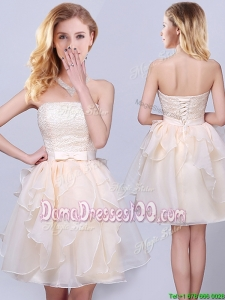 Pretty Strapless Princess Organza Champagne Short Dama Dress with Ruffles and Lace