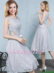 Top Seller Cut Out Waist Beaded Knee Length Grey Dama Dress in Lace