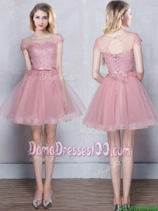Affordable See Through Applique and Belted Short Sleeves Pink Dama Dress