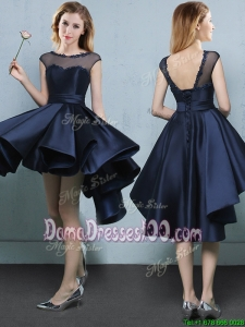 Affordable See Through High Low Navy Blue Dama Dress with Cap Sleeves