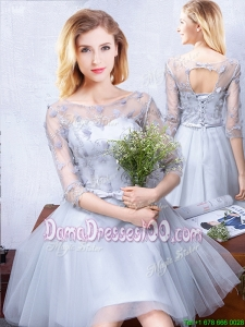 Affordable See Through Scoop Applique and Belted Dama Dress with Half Sleeves