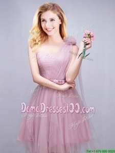 Beautiful One Shoulder Short Dama Dress with Handcrafted Flower and Bowknot