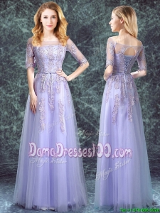 Beautiful Square Applique Tulle Lavender Long Dama Dress with Half Sleeves