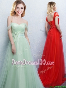 Best Selling Off the Shoulder Tulle Apple Green Dama Dress with Brush Train