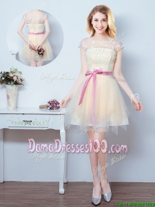 Cheap Laced Bodice and Ruffled Bowknot Champagne Dama Dress with Short Sleeves