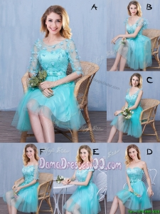 Cheap Tulle Applique and Bowknot Laced Short Dama Dress in Aqua Blue