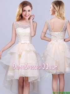 Discount Organza High Low Champagne Dama Dress with Laced Bodice and Ruffles