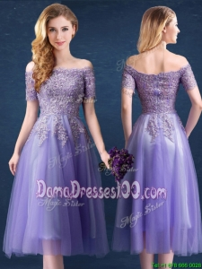Discount Zipper Up Tea Length Lavender Dama Dress with Lace and Beading