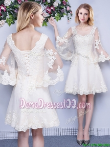 Elegant Laced Scoop White Short Dama Dress with Three Quarter Length Sleeves
