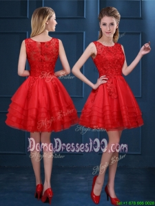 Exclusive Organza Zipper Up Short Dama Dress with Lace and Ruffled Layers