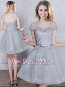 Fashionable Applique and Belted Short Sleeves Scoop Dama Dress in Grey