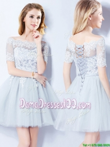 Latest See Through Short Sleeves Light Blue Tulle Dama Dress with Laced Bodice