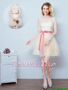 Lovely See Through Scoop Applique and Bowknot Short Dama Dress in Champagne