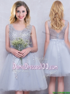 New Arrivals See Through Zipper Up Grey Short Dama Dress with Appliques and Beading