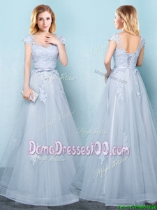 New Style Cap Sleeves Applique and Belted Long Dama Dress in Light Blue