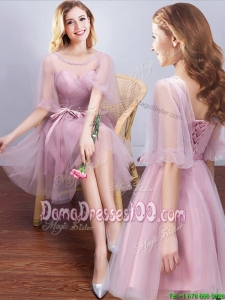 Popular See Through Scoop Half Sleeves Bowknot Dama Dress in Tulle