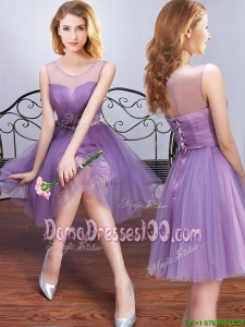 Popular See Through Scoop Lavender Tulle Dama Dress with Beading and Belt