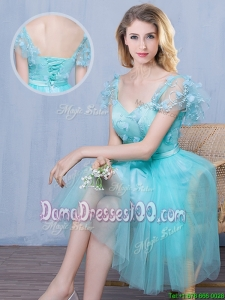 Popular Short Sleeves Sweetheart Laced Dama Dress with Appliques and Bowknot
