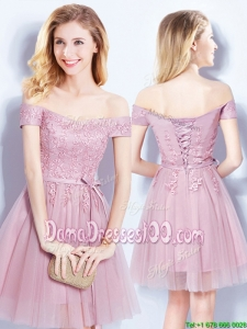 Pretty Off the Shoulder Applique and Belted Dama Dress in Pink