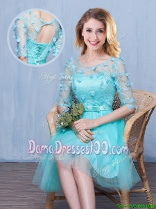 Pretty See Through Scoop Aqua Blue Short Dama Dress with Half Sleeves