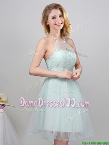 Romantic Applique Decorated Halter Top Laced Short Dama Dress in Apple Green