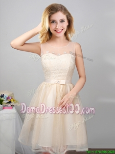 Simple Laced and Belted Champagne Short Dama Dress with See Through Scoop