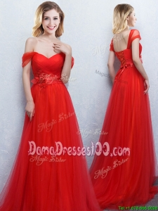 Top Seller Brush Train Off the Shoulder Tulle Applique Dama Dress in Red