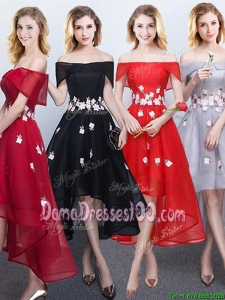 Top Seller Off the Shoulder High Low Cut Out Waist Appliques Dama Dress in Red