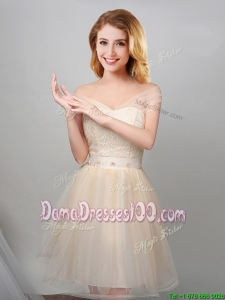 Unique Off the Shoulder Laced Bodice and Applique Dama Dress in Champagne