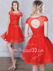 Unique Short Sleeves Tulle Red Dama Dress with Appliques and Belt